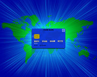 Credit card with world map Stock Photo