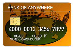 Credit card with world map. Vector art of a Credit card with world map gold Royalty Free Stock Images