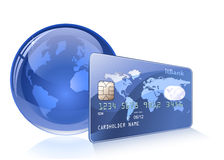 Credit card with world map and Globe Royalty Free Stock Images