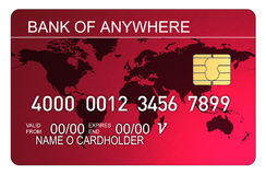 Credit card with world map red Royalty Free Stock Photography