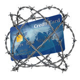 Credit card wrapped in barbed wire. 3d illustration Royalty Free Stock Images