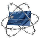 Credit card wrapped in barbed wire. 3d rendering of a credit card wrapped in barbed wire Royalty Free Stock Images