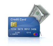 Credit card with zipper. 3D concept with credit card, zipper and money Royalty Free Stock Images