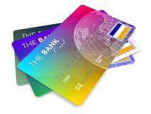 Credit cards. Set of credit cards isolated on white Royalty Free Stock Photo