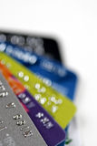 Credit cards. Close up of stack of credit cards Stock Images