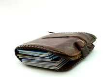 Credit Cards. Bulging wallet full of credit cards Stock Photography
