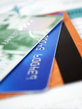 Credit cards. Closer look at credit cards Stock Images