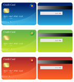 Credit cards. Set of three credit cards(front and back) isolated on white background.EPS file available royalty free illustration