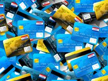 Credit cards. Colorful blue gold and grey credit cards background Stock Photo