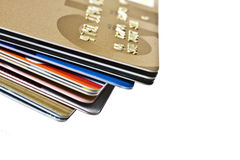 Credit Cards. Different credit Cards closeup on white background Royalty Free Stock Image