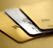 Credit cards. Golden and silver credit cards Royalty Free Stock Images