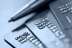 Credit cards. Credit bank cards for financial transactions Royalty Free Stock Image