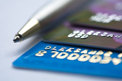 Credit cards. Credit bank cards for financial transactions Royalty Free Stock Photography