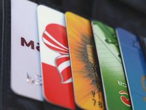 Credit cards. In a black leather wallet Royalty Free Stock Image