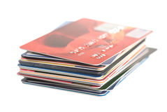 Credit cards. A stack of credit cards on white Stock Images