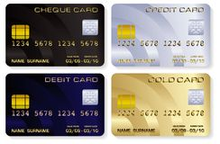 Credit cards. Vector illustrations of a variety of realistic looking credit cards isolated on white Stock Photo