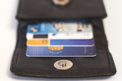 Credit cards. In purse stock photo