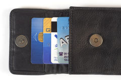 Credit cards. In purse stock photos