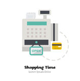 Credit cards accepted. Vector Illustration. Icon of Cash Register with credit card. Flat Vector Illustration royalty free illustration