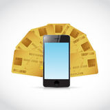 Credit cards around a phone. illustration Stock Photography
