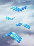 Credit cards as a bird flying. In the sky, 3d illustration Stock Images