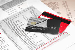 Credit Cards on Bank Statement. Two Credit Cards on Bank Statement Stock Image