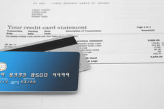 Credit Cards on Bank Statement Stock Photo