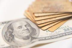 Credit Cards Bills - Studio Shot Royalty Free Stock Photos