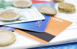 Credit cards and cash Stock Photo