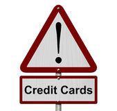 Credit Cards Caution Sign Stock Photo