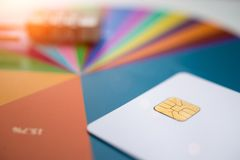 Credit cards and chart, close up royalty free stock photo