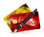 Credit cards, check book and pen isolated on white background. 3D illustration vector illustration