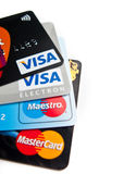 Credit cards choice. Conceptual image of credit cards choice of popular issuers (Visa, MasterCard Stock Photo