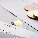 Credit cards and coins Royalty Free Stock Images