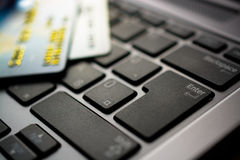 Credit cards on computer Stock Image