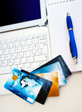 Credit cards on computer Stock Photography