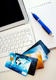 Credit cards on computer Stock Images