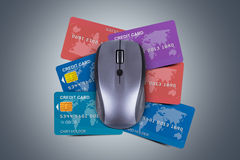 Credit Cards with Computer Mouse Royalty Free Stock Photography