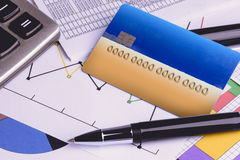 Credit cards with credit card statements,account,pen, calculator Royalty Free Stock Photo