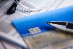 Credit cards with credit card statements,account,pen, calculator Royalty Free Stock Photography