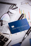 Credit cards with credit card statements,account,pen, calculator Royalty Free Stock Image