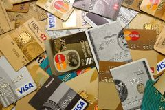 Credit Cards Cut into Half stock images