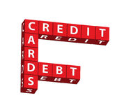 Credit Cards Debt. Red blocks spelling credit cards debt on a white background, credit cards Stock Images