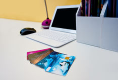 Credit cards on the desk with computer Royalty Free Stock Photography