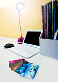 Credit cards on the desk with computer Royalty Free Stock Images