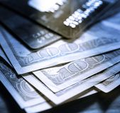 Credit cards and dollars Stock Photography