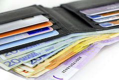 Credit cards and Euro banknotes Stock Photos