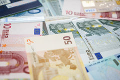 Credit cards and Euro banknotes. Royalty Free Stock Images