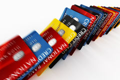 Credit cards falling. 3d rendering of credit cards falling like dominos Royalty Free Stock Photo