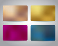 Credit cards or gift cards set. With colorful mesh abstract design background. Gold, bronze, pink, blue colors, Christmas design Vector EPS10 Stock Photography